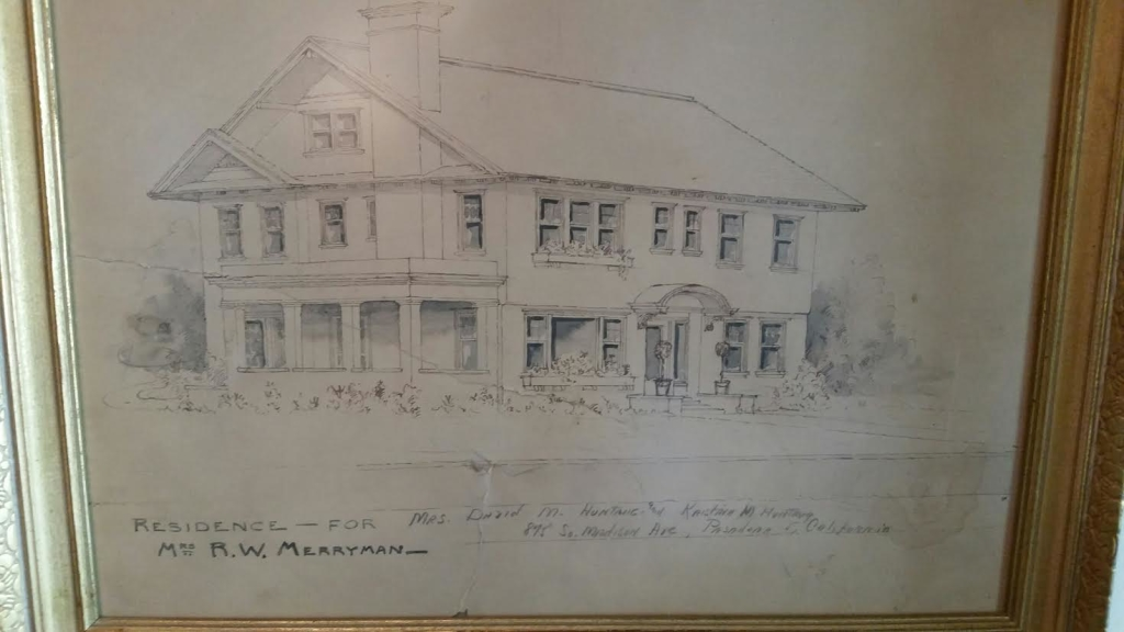 Old Rendering framed on wall