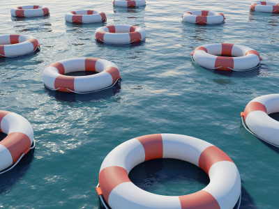 Many life preservers on blue water. High resolution 3D render.